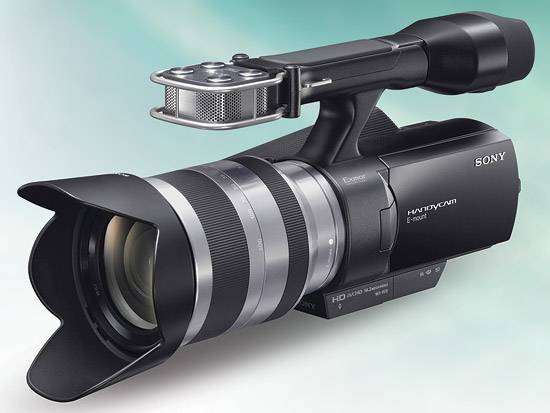 The Sony NEX-VG10 is a true hybrid that uses an APS-sized sensor and shoots full HD video and full-resolution stills.